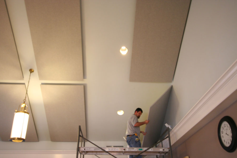 How to install acoustic panels on ceiling?